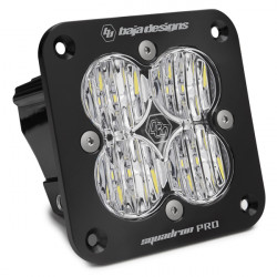 Flush Mount LED Light Pod Black Clear Lens Wide Cornering Pattern Squadron Pro Baja Designs